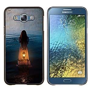Significado Chica Mujer Naranja Luz- Metal de aluminio y de plástico duro Caja del teléfono - Negro - Samsung Galaxy E7 / SM-E700