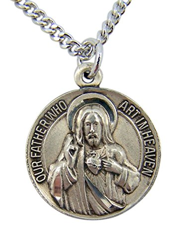 (Sterling Silver Our Father Sacred Heart Medal with Hail Mary Back, 11/16)