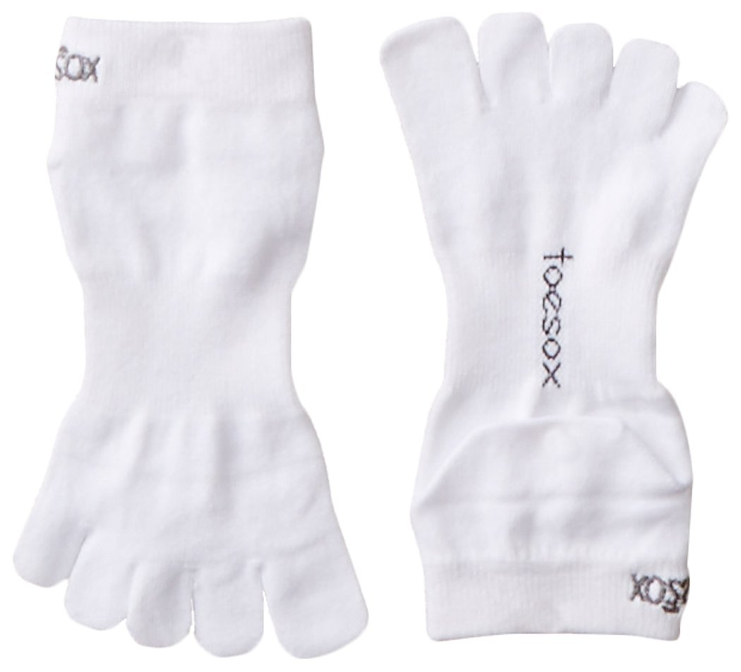 ToeSox Sport Perfdry Ultralite Weight Ankle Socks, Medium, White