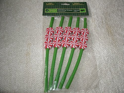 Holiday Time Peppermint Candy Christmas Plastic Drinking Straws Five Pack Party Favor