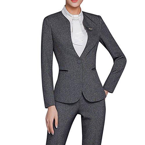 YUNCLOS Women's 2 Piece Office Lady Business Suit Set Slim Fit Blazer Pant - Suiting Pant