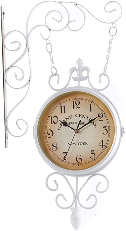 YF-Clock Estación de jardín Exterior Reloj de Doble Cara Movimiento de Cuarzo Reloj de Pared silencioso Sala de Estar Estudio Estudio Decoración de Pared - 9 Pulgadas (Color : Blanco): Amazon.es: Hogar