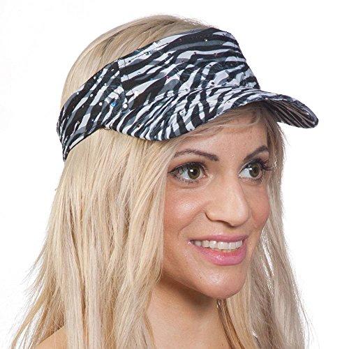 TOP HEADWEAR TopHeadwear Womens Glitter Animal Print Adjustable Visor - Zebra (Glitter Top Print)
