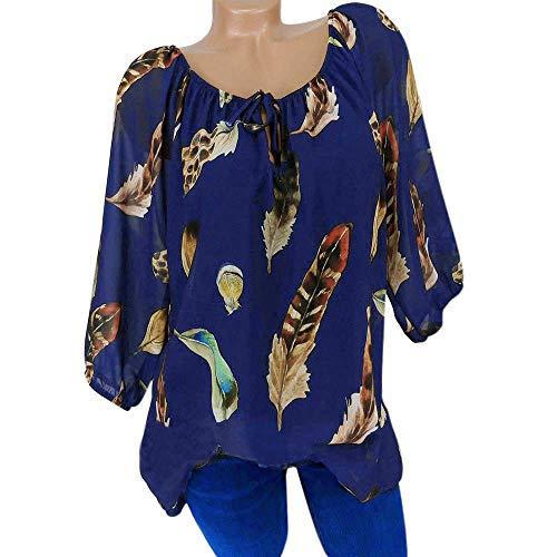 Womens Plus Size T Shirt Women Summer Feather Floral Printed V Neck T-Shirt Chiffon Irregular Hem Flowy Loose Top Navy ()