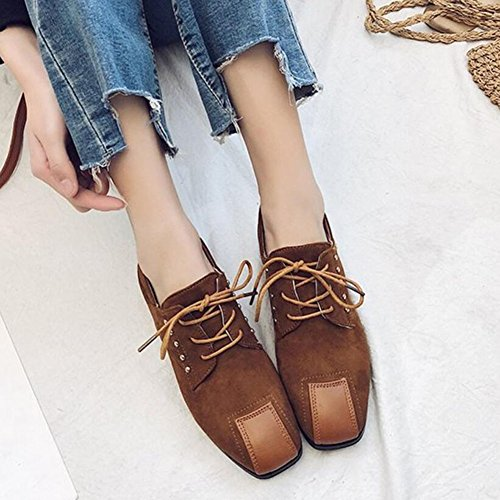 Shoes Casual Stitching Shoes Brown Comfortable Heel Leather Black GAOLIXIA Women's Brown High Flat Heels Suede gfWqnRPwS
