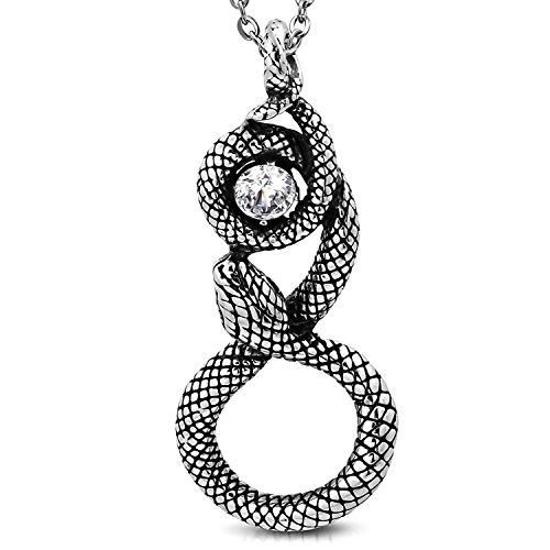 Comfort Zone Studios Stainless Steel Antique Vintage Spiral Serpent Loki Snake Clear Cubic Zirconia Biker Necklace Pendant