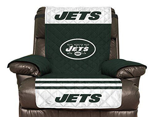 NFL New York Jets Recliner Reversible Furniture Protector with Elastic Straps, 80-inches by 65-inches
