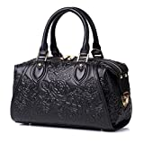 APHISON Designer Unique Embossed Floral Header Layer Cowhide Tote Style Ladies Top Handle Bags Handbags (Black)