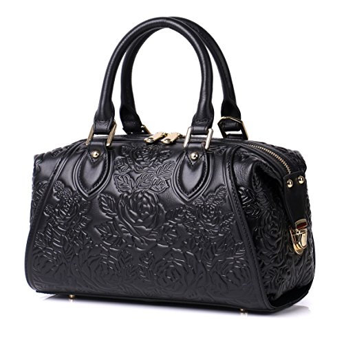APHISON Designer Unique Embossed Floral Header Layer Cowhide Tote Style Ladies Top Handle Bags Handbags (Black) by APHISON