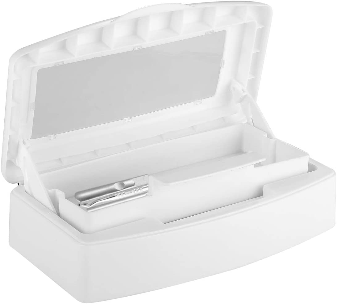 Caja de Esterilización de Arte de Uñas Caja de Bandeja de Esterilizador Limpia Salón Herramienta de Implemento de Manicura de Arte de Uñas Personal Tapa Transparente