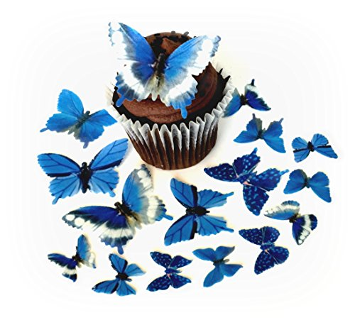 Paper Butterflies 5 Different Sizes ranging from 7/8 Inch to 2 Inch for Decorating Desserts Pack of 24 ()