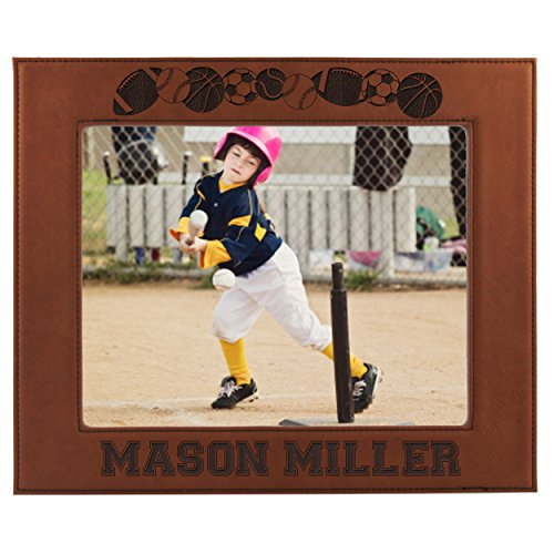 Free Picture Football - Sports Picture Frames for Kids - Boy or Girl Photo Football Hockey Baseball Soccer Frames - Custom Personalized and Engraved for Free (8 x 10)