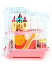 BPS® hamsterkooi, vest voor hamsters, met tunnelladder en speciaal huis, hoge kwaliteit, 28 x 21 x 31 cm, BPS-1340 (roze)
