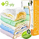 "Baby Washcloths - Muslin Washcloth Pack - 9-ply 12""x12"" Ultra Soft Baby Muslin Washcloths for Kids - Organic Washcloths bulk - Baby Bath Towel set - Baby Bath Towels - Infant Newborn Kids Washcloths"