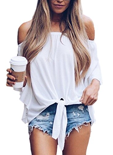 FARYSAYS Women's Solid 3/4 Bell Sleeve Off The Shoulder Front Tie Knot T Shirt Tops Blouse White - Knot Cloth Womens