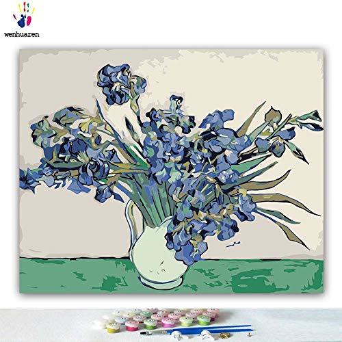 (Van Gogh iris DIY Oil Painting by Numbers Art Paint by Number on Canvas Famous Paintings Collection Coloring Graffiti Living Room Gift)