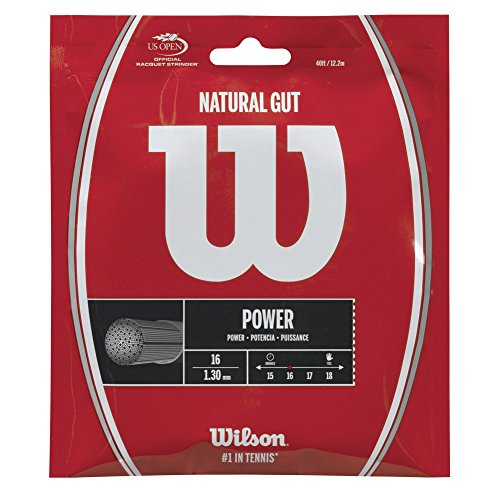 Wilson Natural Gut Power 16 Gauge Tennis Racquet String Sets 2-Pack (2 Sets Per Order) - Best for Comfort and Control ()