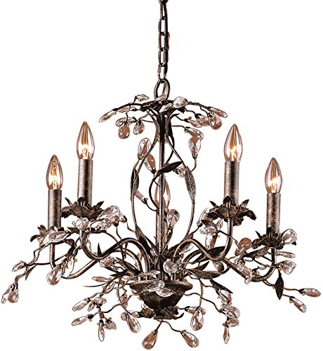 Elk 8053/5 5-Light Chandelier In Deep Rust and Crystal (Garden District Collection)