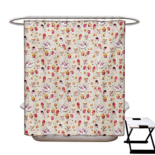 BlountDecor Vintage Shower Curtains 3D Digital Printing Vintage Retro Antique Tea Cups Teapots Art Pattern Image Custom Made Shower Curtain W48 x L72 Pale Pink Dark Coral White