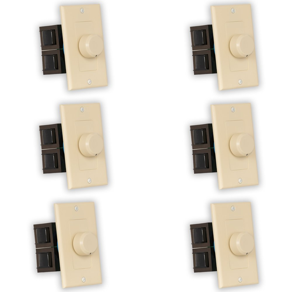 Theater Solutions TSVCD-I Indoor Speaker Volume Controls Ivory Dial Audio Switches 6 Piece Pack by Theater Solutions