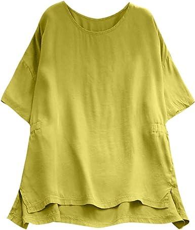 wyxhkj Mujer Blusa Manga Corta, Camiseta Manga Corta Camisa De Manga Corta Algodón Y Lino Cuello Redondo Camiseta Holgada Blusa Verano Casual: Amazon.es: Ropa y accesorios