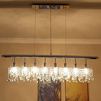 Saint Mossi Modern Crystal Linear Raindrop Chandelier Lighting Flush ...