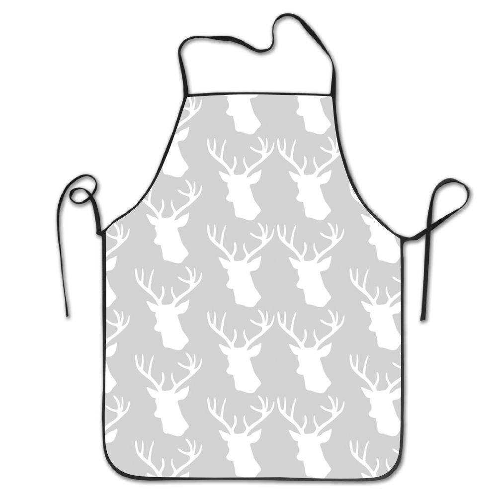 料理人エプロン動物鹿ヘッドキッチンエプロン面白い料理エプロン   B079L8H4LW