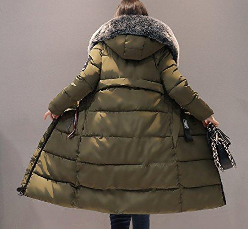 Verde Giacca Invernale Lunga Bigood Parka Militare Thick Coat Down Slimming Women Ladies 0qxYvS