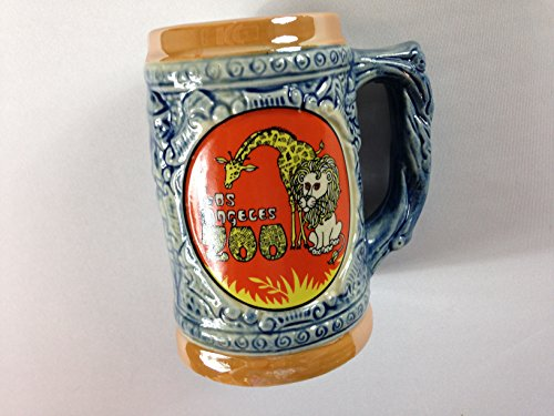 Los Angeles Zoo Stein Vintage Small Mug 3D Design Made In Japan Giraffe Lion Cup