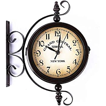 Amazon Com Jiangye Vintage Double Sided Wall Clock Round