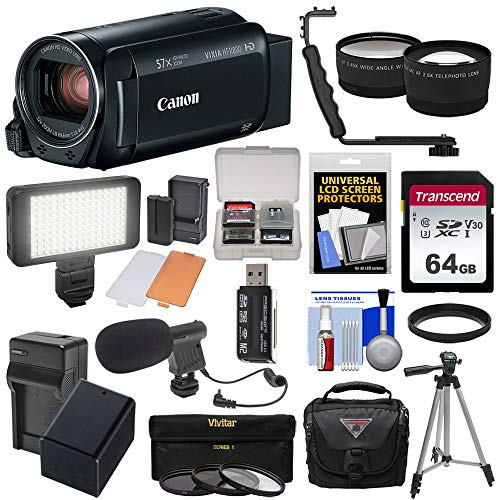 - Canon Vixia HF R800 1080p HD Video Camera Camcorder (Black) with 64GB Card + Battery & Charger + Case + Tripod + 3 Filters + LED + Mic + 2 Lens Kit