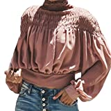 Blouse For Women-Clearance Sale, Farjing Fashion Solid Blouse Turtleneck Ruched Lantern Long Sleeve Shirt Loose Top(US:8/L,Pink)