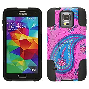 Samsung Galaxy S5 Hybrid Case Fun Paisley Blue Pink on Pink 2 Piece Style Silicone Case Cover with Stand for Samsung Galaxy S5