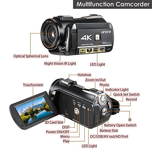 Review ORDRO Camcorder 4K Ultra