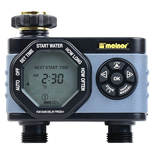 Melnor 53100 2-Outlet Digital Water Timer, Simple and Flexible Programming, Easy Manual Override, Independent Start Time for Each Valve ()