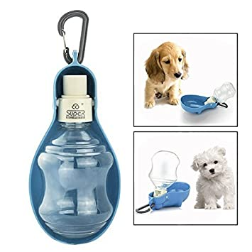 Itian Plegable Perro dispensador de botella de agua para viajes, dispensador de alimento plegable para