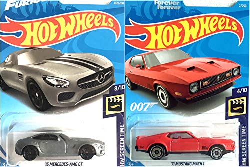 Hot Wheels 15 Mercedes AMG GT 107/250 and 71 Mustang Mach 1 2/250 HW Screen Time 2 Car Bundle Set