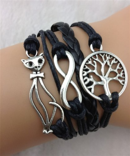 Healthtop Handmade Cat Infinity Love Wish Tree Black Leather Rope Wrap Bracelets Friendship Bangle