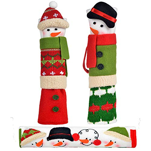 OUGAR8 Adorable Christmas Microwave Handle Covers Set | Cute & Practical Oven Handle Cover| Protective Kitchen Appliance Handle Covers | Fun Snowman Design | Perfect Idea (3-Snowman)