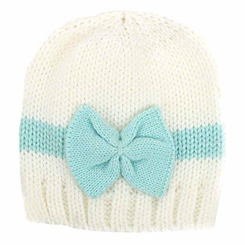 DongDong Newborn Cute Hat, Winter Warm Colorblock Bow Knit Cap for Kids -