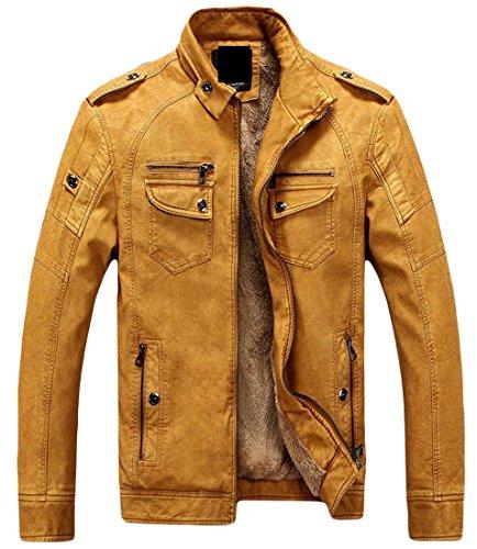 Casual TTYLLMAO Line Winter Mens Jacket Yellow Leather Coat Faux Fleece 5q6p7xO