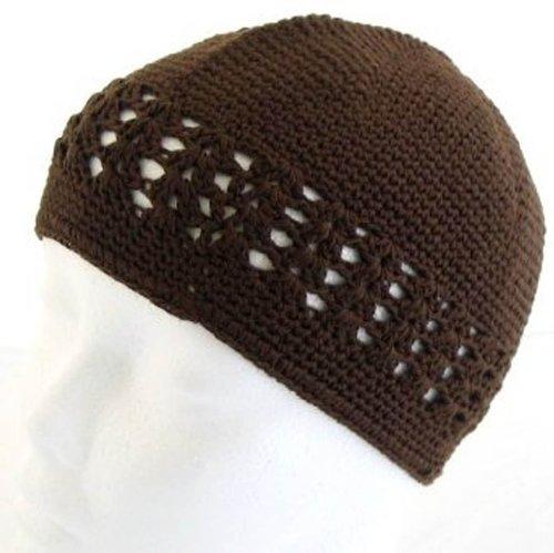 Knit Kufi Hat - Koopy Cap - Crochet Beanie (Brown Crochet)