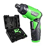 LANNERET CS3.6HL01 3.6V Cordless Electric Screwdriver Household Lithium-Ion Battery Rechargeable Drill/Driver Multifunction with Twistable Handle LED Light,24pcs Accessories Included