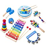 Aideal Musical Instruments Toys Set, 9Pcs Kids Toddlers Band Rhythm Kit Percussion Set, for Childrens' Birthday / Christmas (Set of 9)