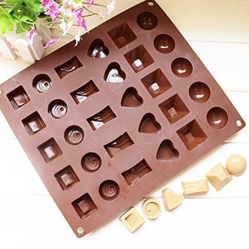 Ozera 2 Pack Silicone Chocolate Jelly Candy Mold, Cake Baking Mold, 30-Cavity, Brown