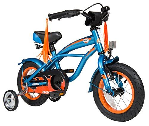 BIKESTAR® Premium Design Kinderfahrrad für coole Kids ab 3 Jahren ★ 12er Deluxe Cruiser Edition ★ Abenteuerlich Blau