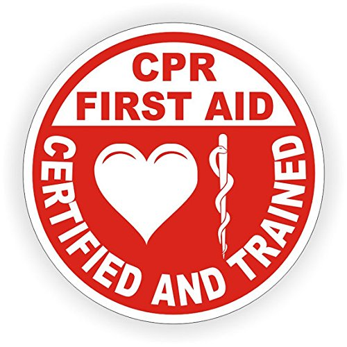 CPR First Aid Certified and Trained Helmet Sticker, Hardhat Sticker 2 Inch Round Stickers Pack of 100 by Medlin Traders