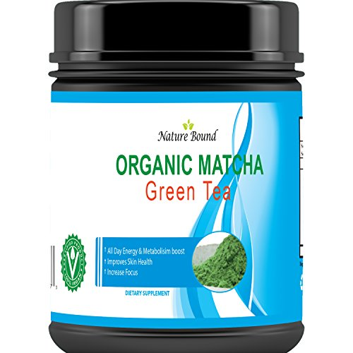 Pure Matcha Green Tea Powder Organic – Kosher Food Grade for Women and Men – Energy + Metabolism Booster – USA Made By Nature Bound, 113 Servings