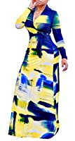 Farktop Women's V Neck Long Sleeves Digital Graffiti Printed Prom Party Maxi Long Dress with Belt
