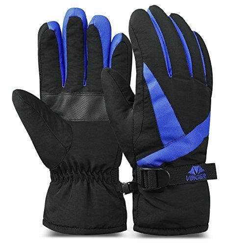 Vbiger Ski Gloves Snow Mittens Waterproof Winter Warm Cycling Gloves (L, Blue 3)